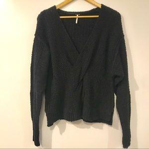 Free People Black Sweater Twist Front Black Small
